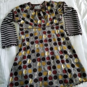 Long sleeved dotted girl's dress. Size 7/8